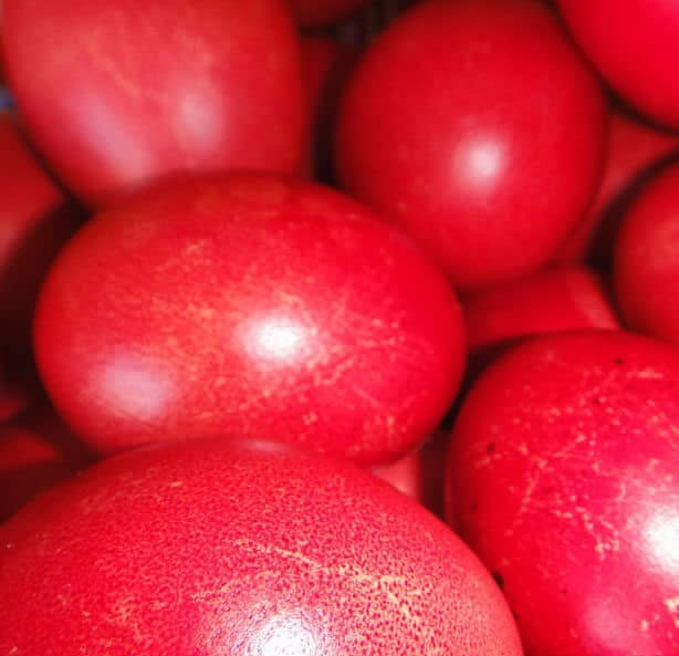 Greek Easter red eggs
